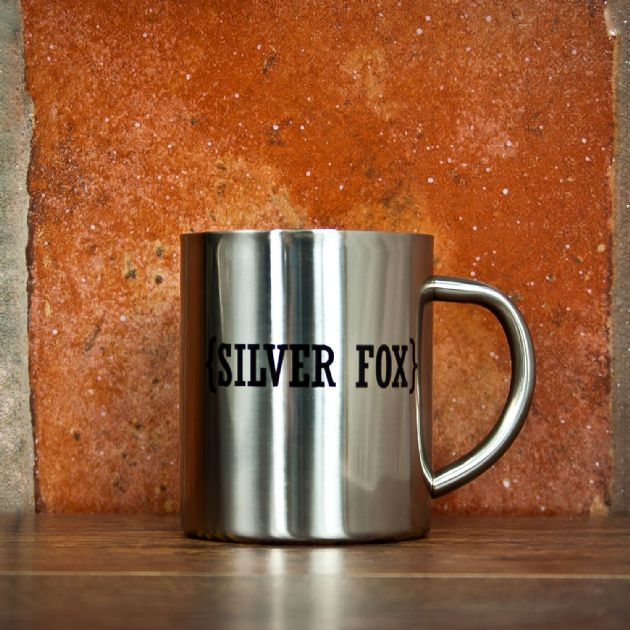 Open Personalisation with Swirl Brackets Silver Outdoor Mug